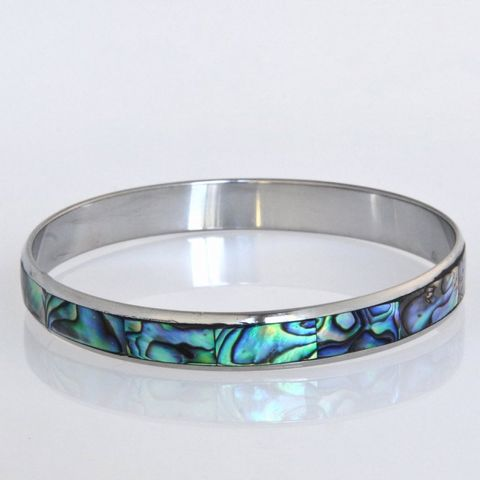 Paua/Steel 10mm Bangle
