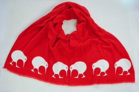 Red/White Kiwi Winter Scarf