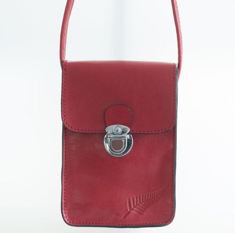 Red Fern Embossed Upright Handybag