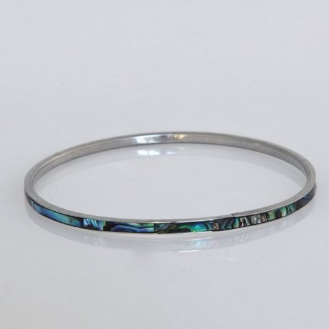 Paua/Steel 3mm Bangle