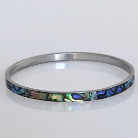 Paua/Steel 5mm Bangle