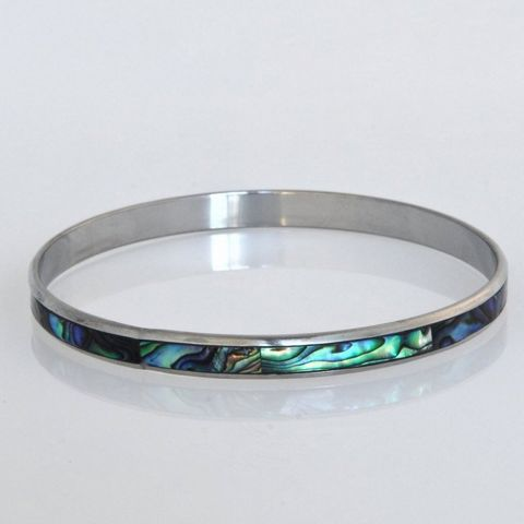 Paua/Steel 5mm Folded Bangle