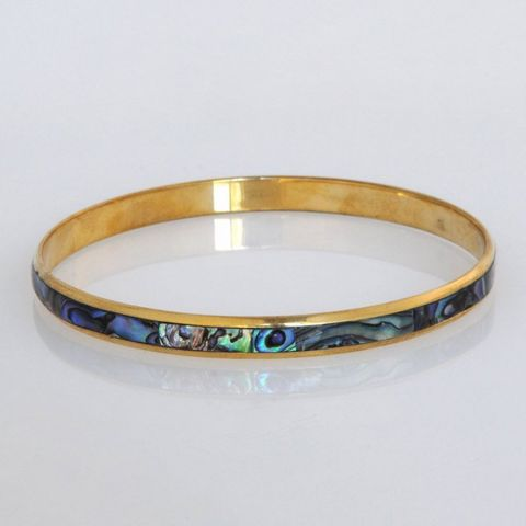 Paua/Brass 5mm Folded Bangle