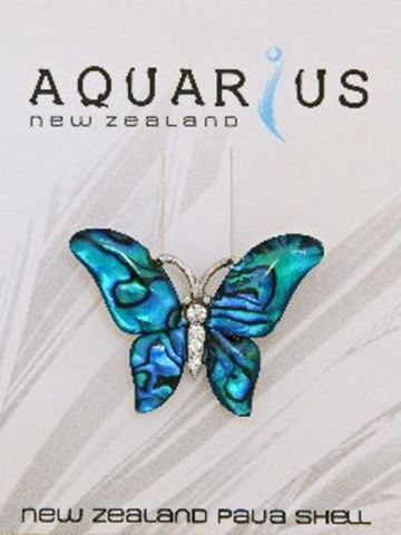 Blue Paua Crystal Butterfly Brooch