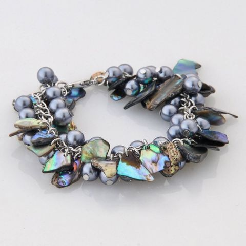 Paua/Grey Bead Multi Bracelet