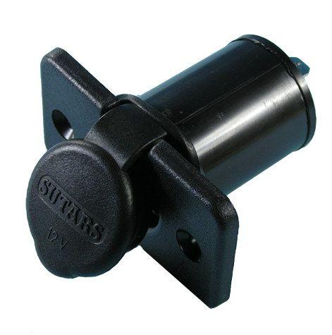 Socket 12V cig lighter flush mount rect+