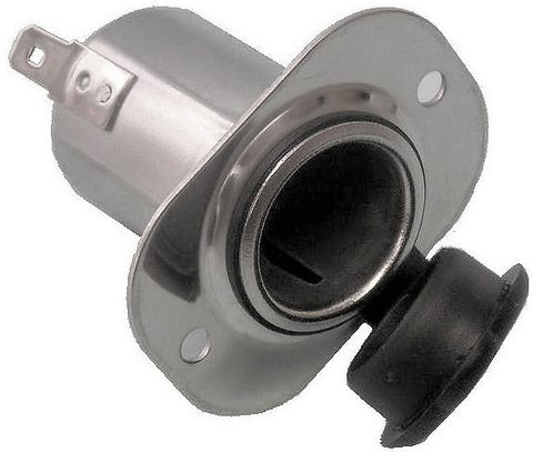 Socket 12V cig lighter flush rect ss+
