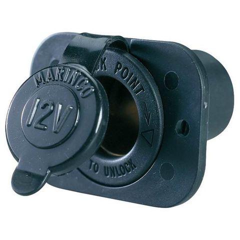 Socket lighter 12/24V+cap+rect flge bk