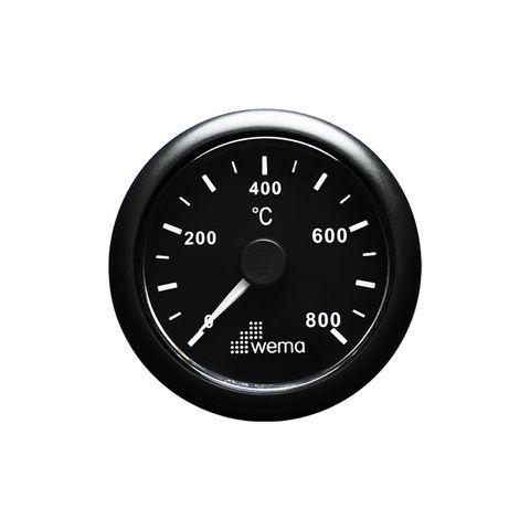 Gauge exhaust temp WEM 800C 12/24Vbk/bk+