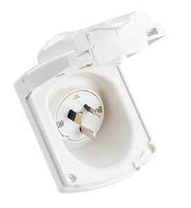 Inlet 24OV 15A flush mount w flap white+