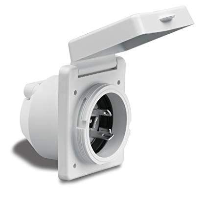 Plug inlet Marinco 230V/16A sq plastic+