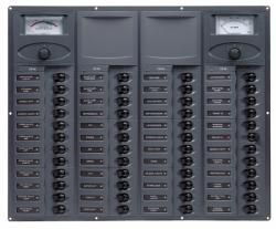 Distr panel DC48 vert 2x analog meters +