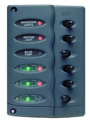 Panel splashproof 6 switches, no fuses +