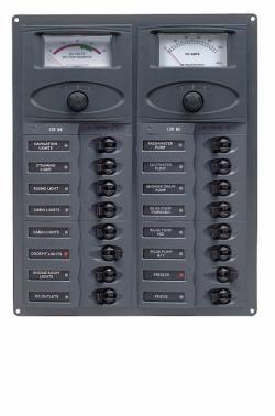 Distr panel DC16 vert 2analg meters+
