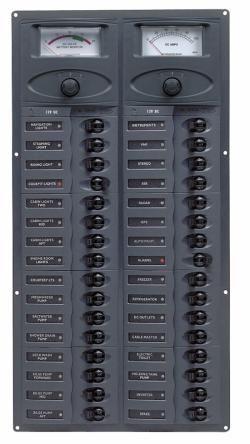 Distr panel DC32 vert 2x analog meters +