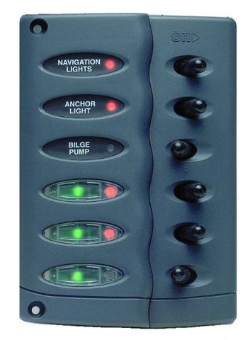 Panel splashproof 6 switches, no fuses +