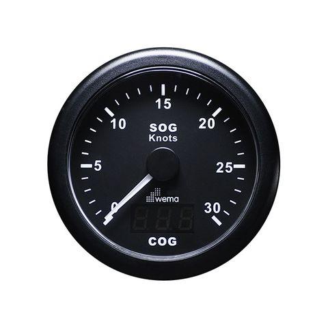 Speedometer WEM GPS d85mm 30kn bk/bk +
