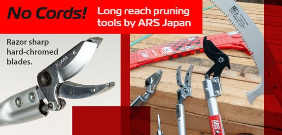 Light weight and high quality, with all internal parts, ARS high-reach pruners have no cords to get caught in tree branches.