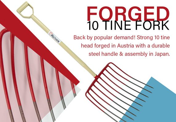 Forged 10 Tine Mulch Fork with Steel D-Handle by Bighorn