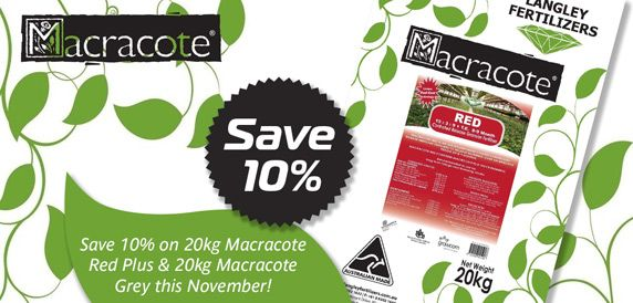 Save 10% on Macracote 20kg Red Plus and Grey Fertiliser this November!
