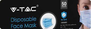 V-TAC 3-Ply Disposable Masks - Box of 50