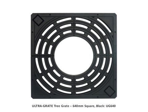 ULTRA-GRATE Tree Grate – 640mm Square, Black