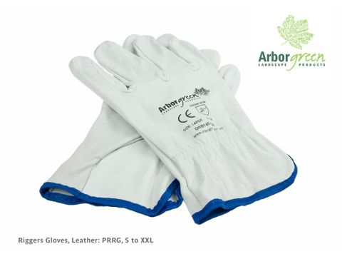 Riggers Gloves, Leather (Green Band) - Size 9 / Medium