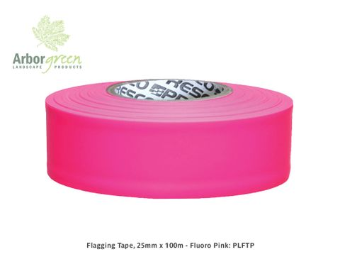 Flagging Tape, 25mm x 100m - Fluoro Pink