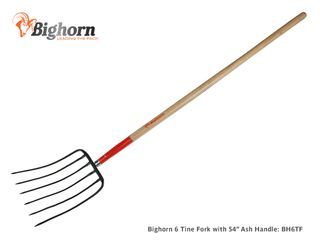Bighorn 6 Tine Manure Fork with 54 Inch Ash Handle