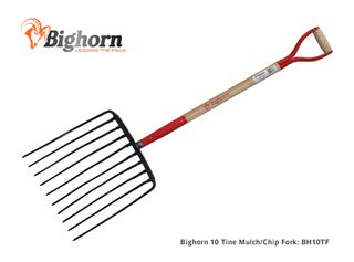 Bighorn 10 Tine Mulch/ Chip Fork with 33 inch D Handle