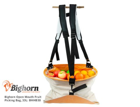 Bighorn Hoop Mouth Fruit Picking Bag, Padded Straps, 1 bushel/33L