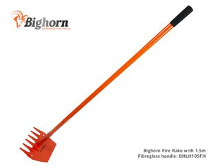 Bighorn Fire Rake with 1,500mm Long Solid Fibreglass Handle (was BHLH105H)