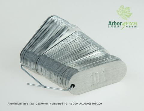 Aluminium Tree Tags, 25mm x 70mm, punched & 100/pack, numbered 101-200