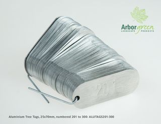 Aluminium tree tags, 25mm x 70mm, punched & 100/pack, numbered 201-300