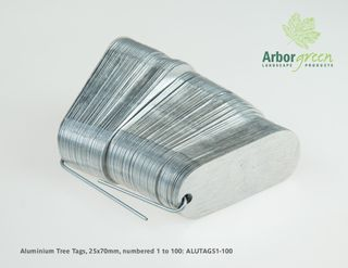 Aluminium Tree Tags, 25mm x 70mm, punched & 100/pack numbered 1-100