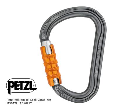 PETZL William Alloy Carabiner, Tri LocK M36ATL