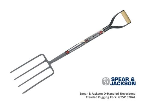 Spear & Jackson D Handled Neverbend Treaded Digging Fork