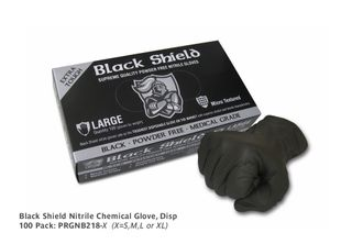 Black Shield Nitrile Chemical Glove, Disp, Small, 100 pack (was PRCGS)