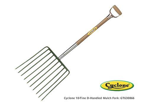 Cyclone 10 Tine D-Handled Mulch & Bark Fork