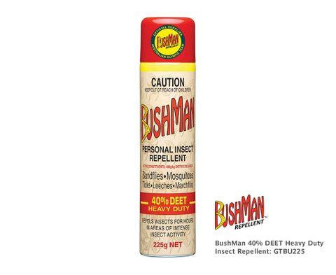Bushman 40% DEET Commercial Insect Repellent Aerosol 225g