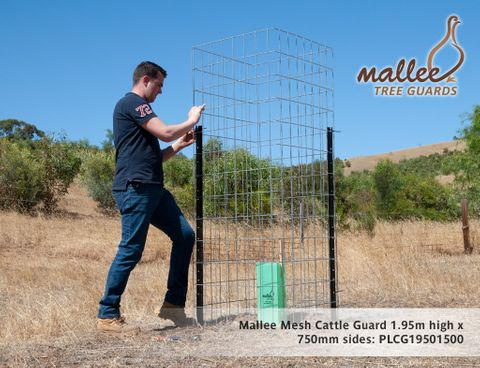 Mallee Mesh Cattle Guard 1.95m H x 750mm sides, 5mm wire, 2 panels, 2 1.8star pickets, 15m barb wire