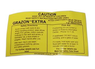Chemical Warning Label - Grazon Extra - 75 x 140mm