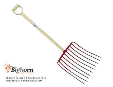 Bighorn Forged 10 Tine Mulch Fork with Steel D-Handle (Repl. BH10TF)