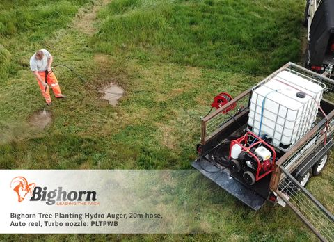 Bighorn Tree Planting Hydro Auger, 20m hose, Auto reel, Turbo nozzle