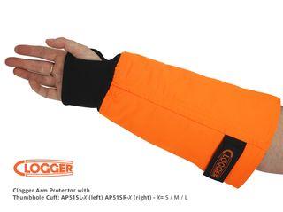 Clogger Arm Protector with Thumb-hole Cuff, Left - Medium