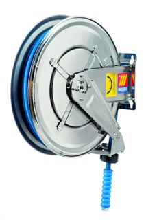 """Meclube Stainless steel auto hose reel fixed, 15mtr x 1/2"""" water 400bar"""