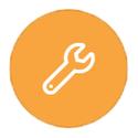 Tool on orange background icon
