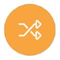 Crossed arrows on orange icon
