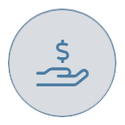 Dollar in hand on grey icon