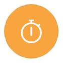 Stopwatch on orange icon